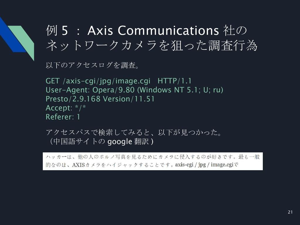 21 以下のアクセスログを調査。 GET /axis-cgi/jpg/image.cgi HT...