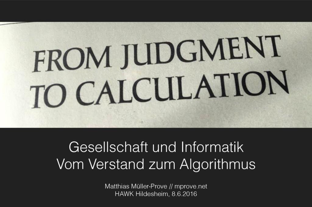Gesellschaft und Informatik Vom Verstand zum A...