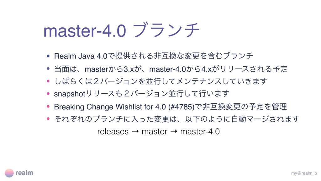 master-4.0 ϒϥϯν my@realm.io • Realm Java 4.0Ͱఏڙ...