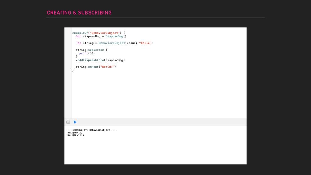 --- Example of: BehaviorSubject --- Next(Hello)...