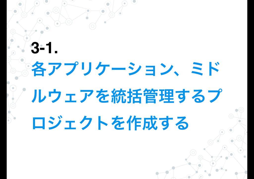 3-1. ֤ΞϓϦέʔγϣϯɺϛυ ϧΣΞΛ౷ׅཧ͢Δϓ ϩδΣΫτΛ࡞͢Δ