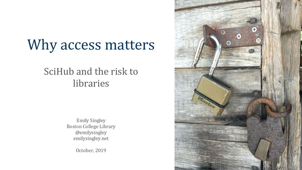 Why access matters SciHub and the risk to libra...
