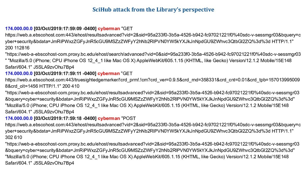 SciHub attack from the Library's perspective 17...