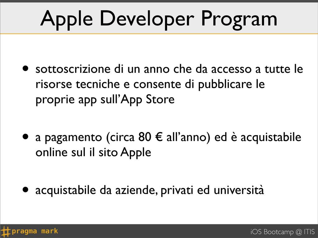iOS Bootcamp @ ITIS Apple Developer Program • s...