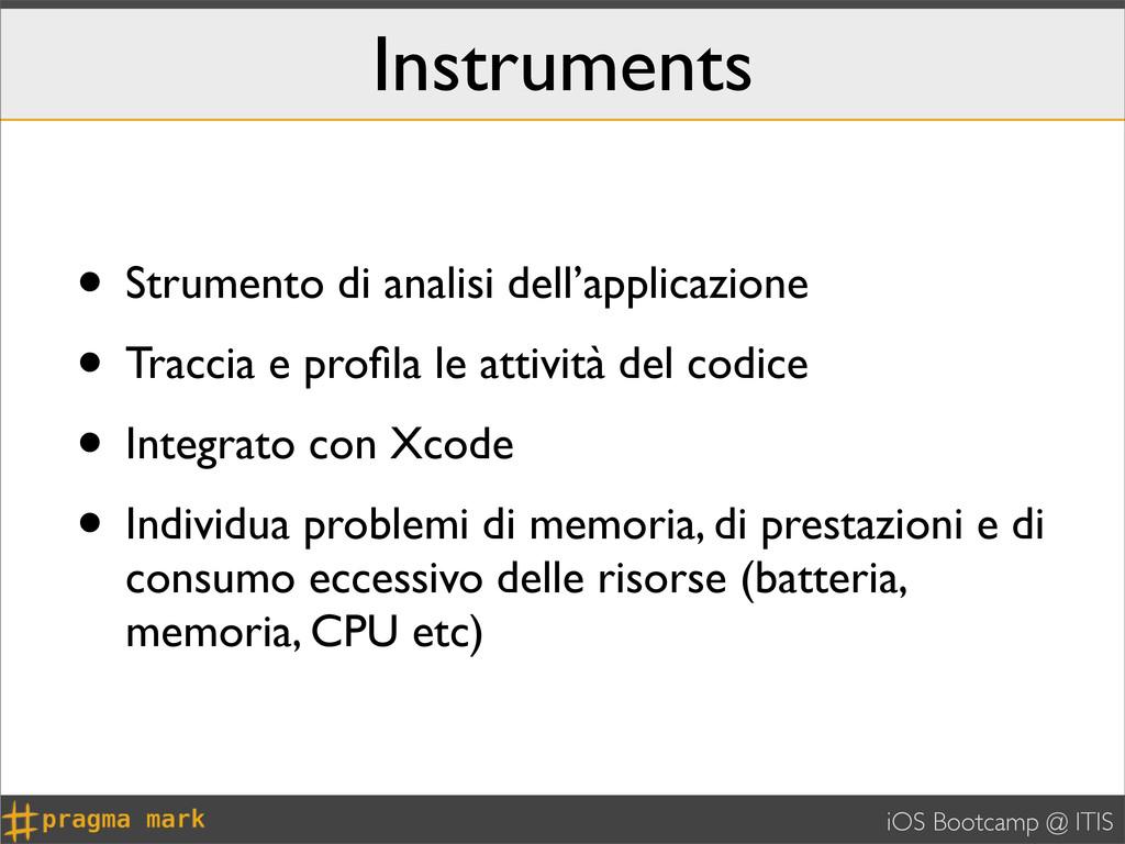 iOS Bootcamp @ ITIS Instruments • Strumento di ...
