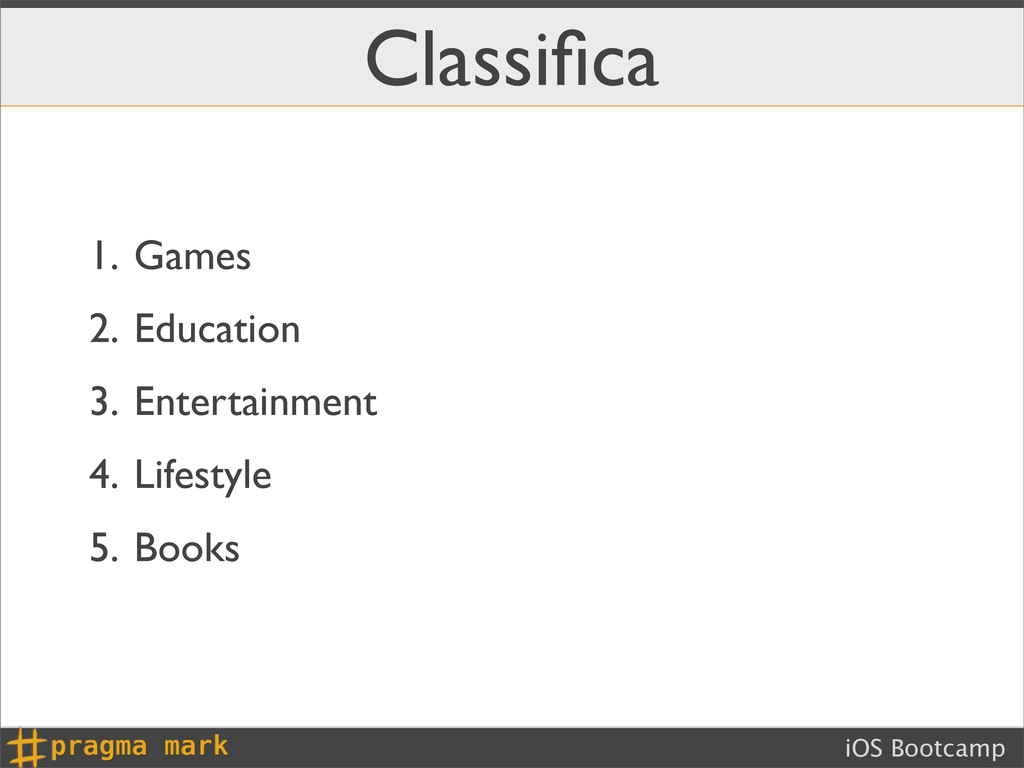 iOS Bootcamp Classifica 1. Games 2. Education 3....