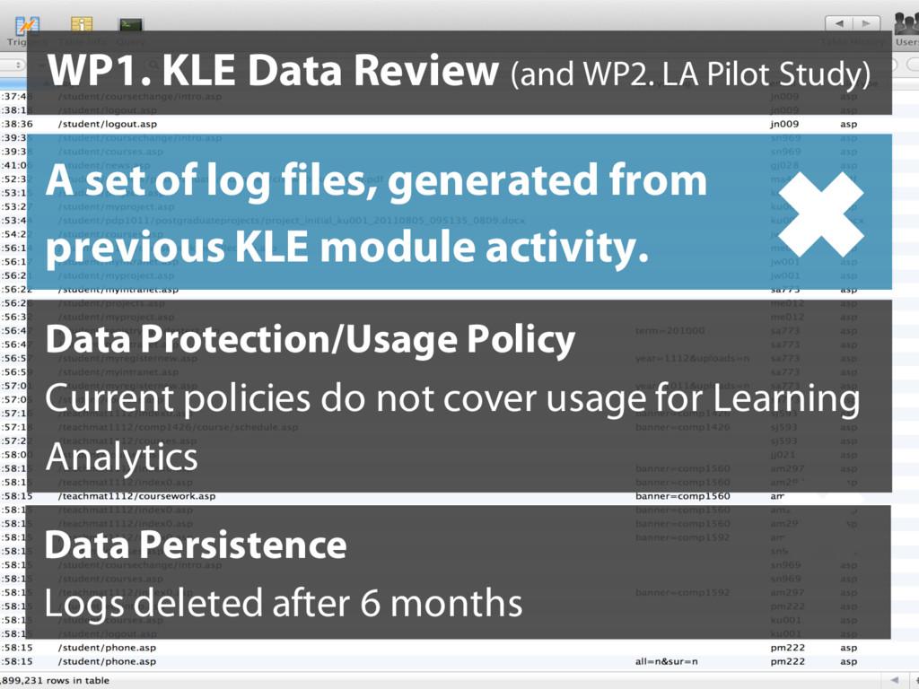 WP1. KLE Data Review (and WP2. LA Pilot Study) ...