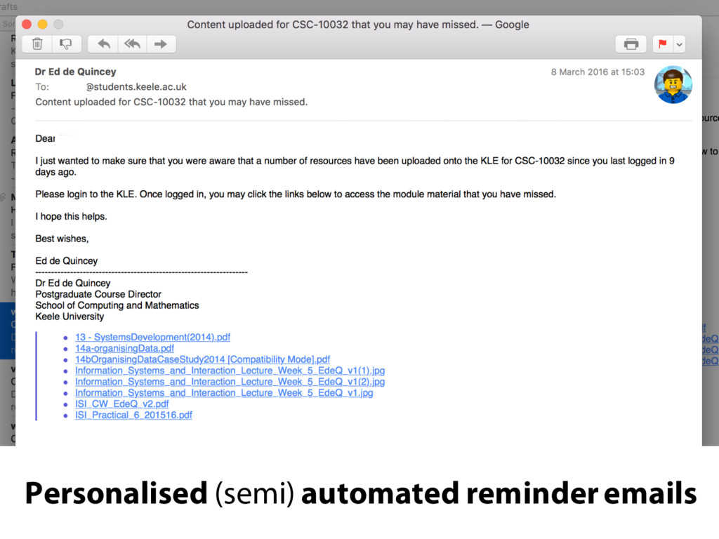 Personalised (semi) automated reminder emails