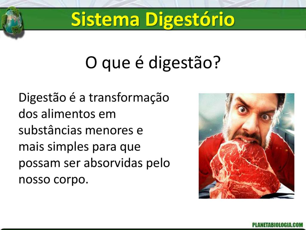 O que é digestão? Digestão é a transformação do...