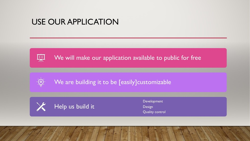 USE OUR APPLICATION We will make our applicatio...