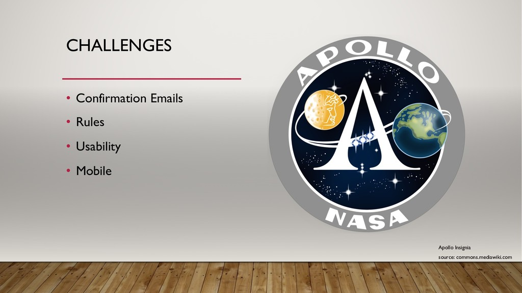 CHALLENGES • Confirmation Emails • Rules • Usab...
