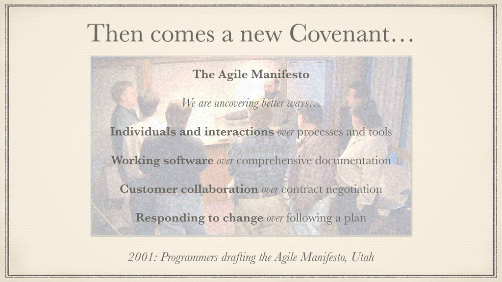 Then comes a new Covenant… 2001: Programmers dr...