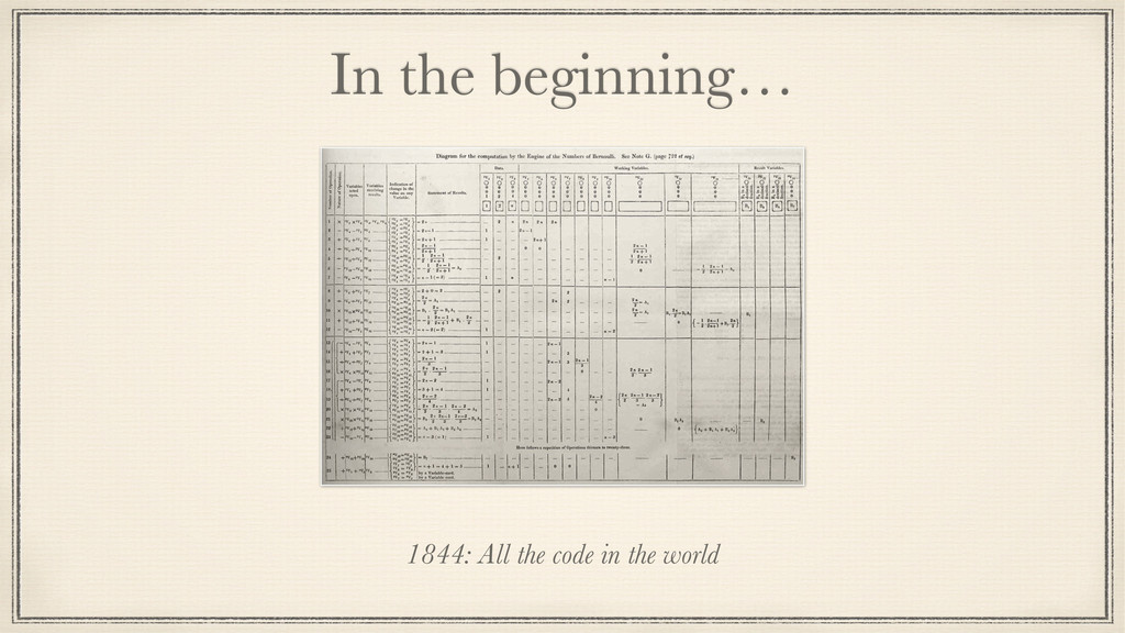 In the beginning… 1844: All the code in the wor...