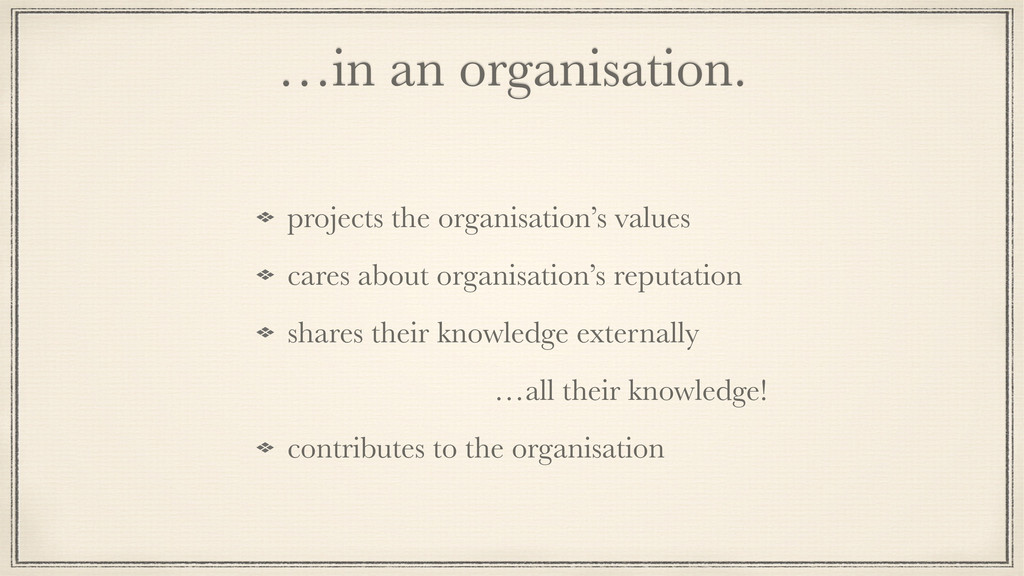 …in an organisation. projects the organisation'...