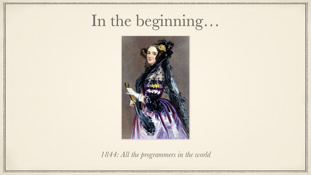 In the beginning… 1844: All the programmers in ...