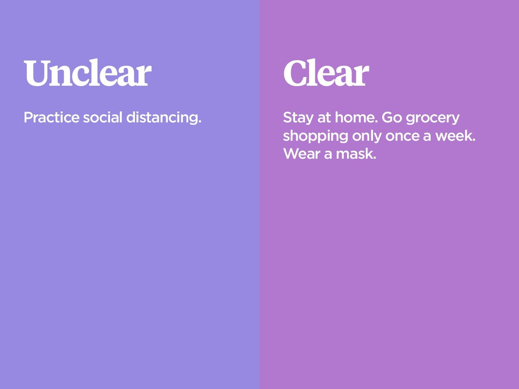 Unclear Practice social distancing. Clear Stay ...