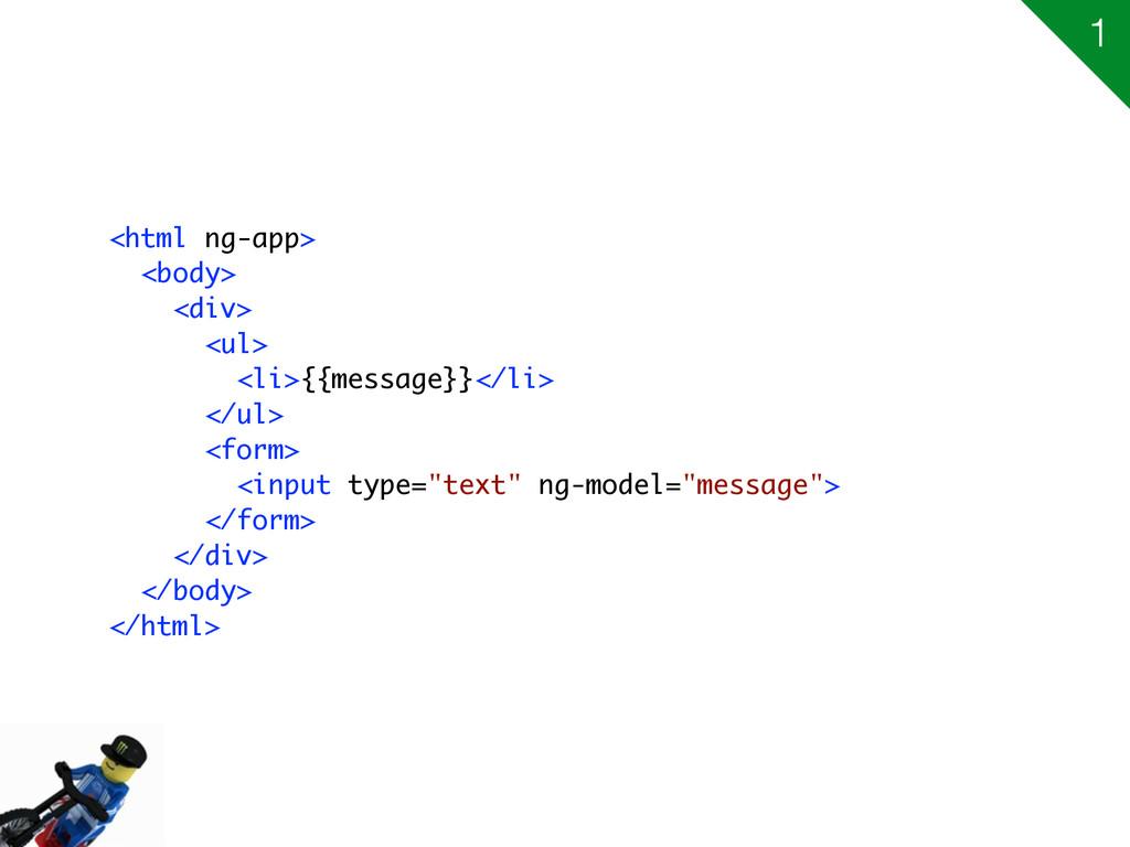 <html ng-app> <body> <div> <ul> <li>{{message}}...