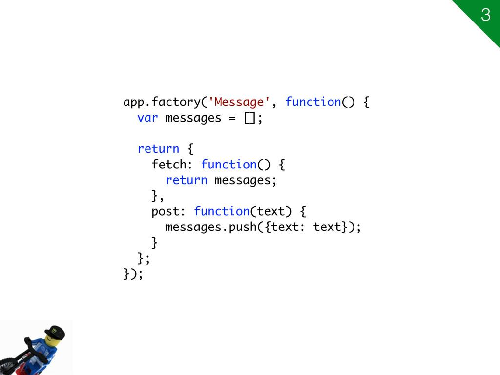 app.factory('Message', function() { var message...