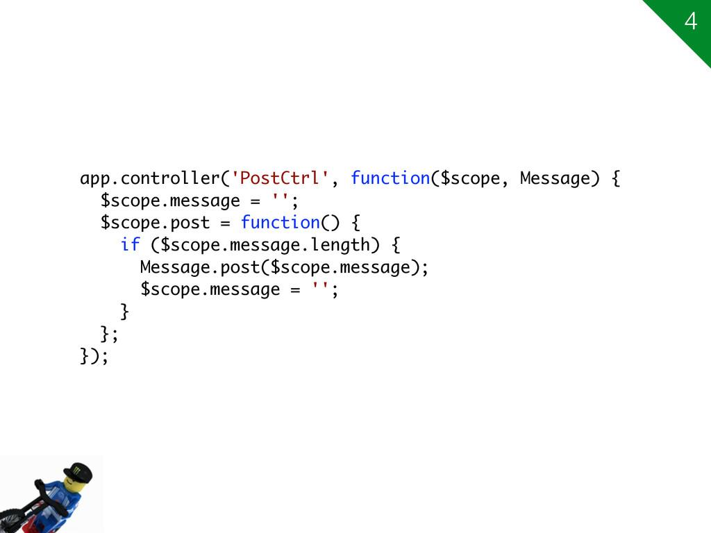 app.controller('PostCtrl', function($scope, Mes...
