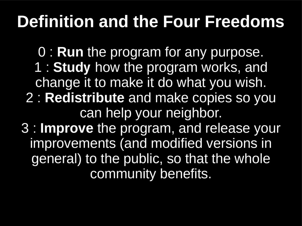 Definition and the Four Freedoms 0 : Run the pr...