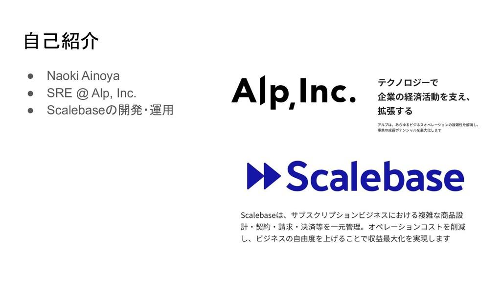 自己紹介 ● Naoki Ainoya ● SRE @ Alp, Inc. ● Scaleba...