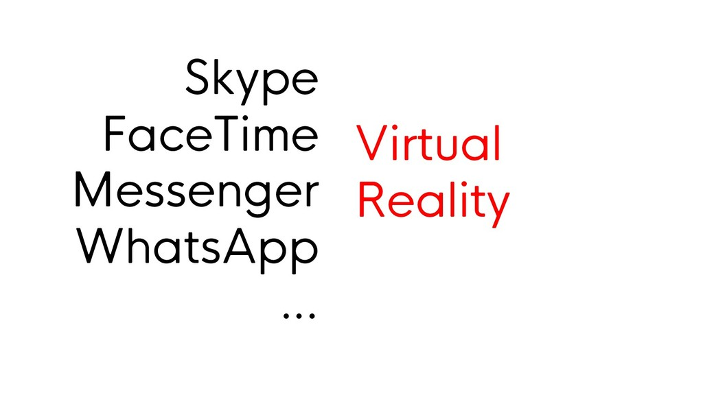 Skype FaceTime Messenger WhatsApp … Virtual Rea...