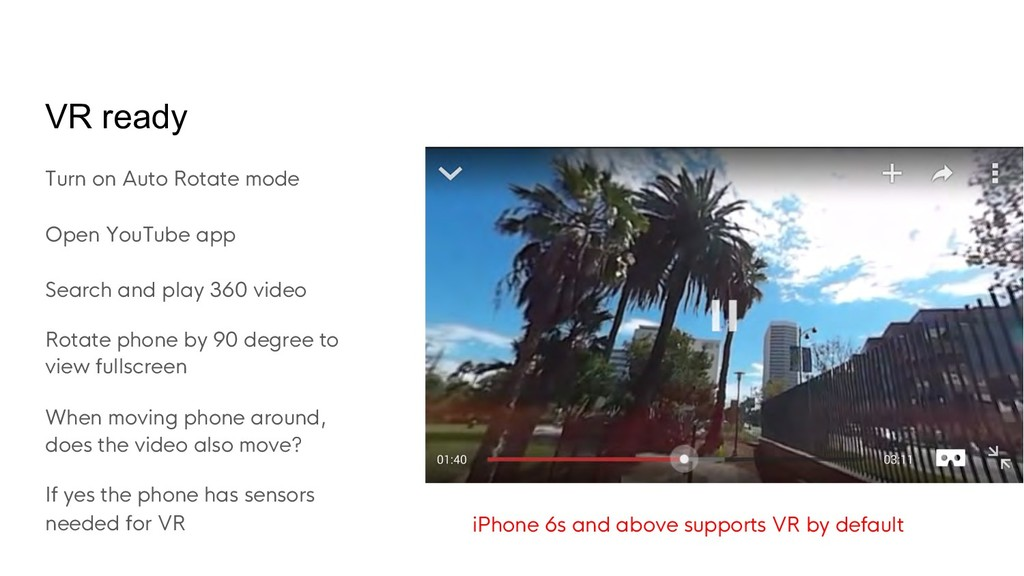 VR ready Turn on Auto Rotate mode Open YouTube ...
