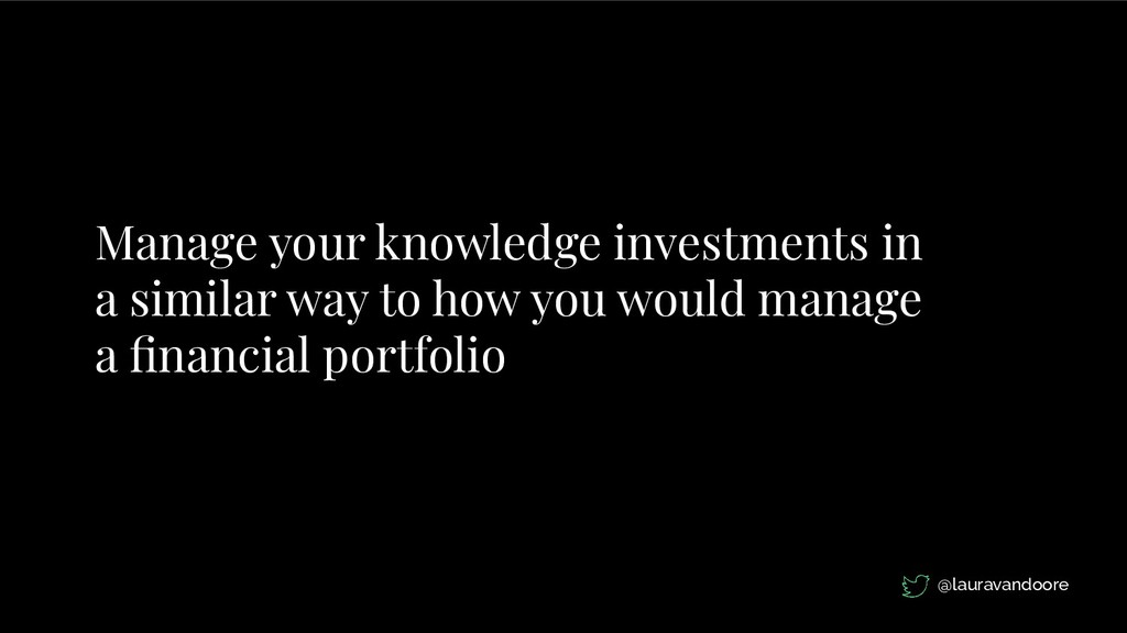 Manage your knowledge investments in a similar ...