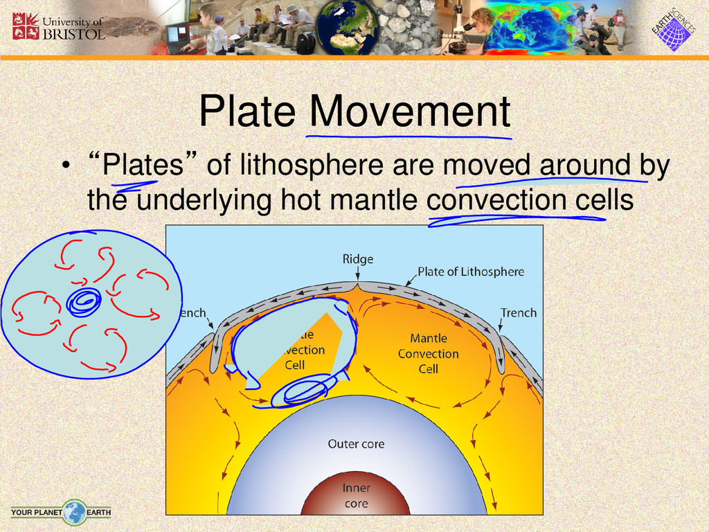 """Plate Movement • """"Plates"""" of lithosphere are mo..."""