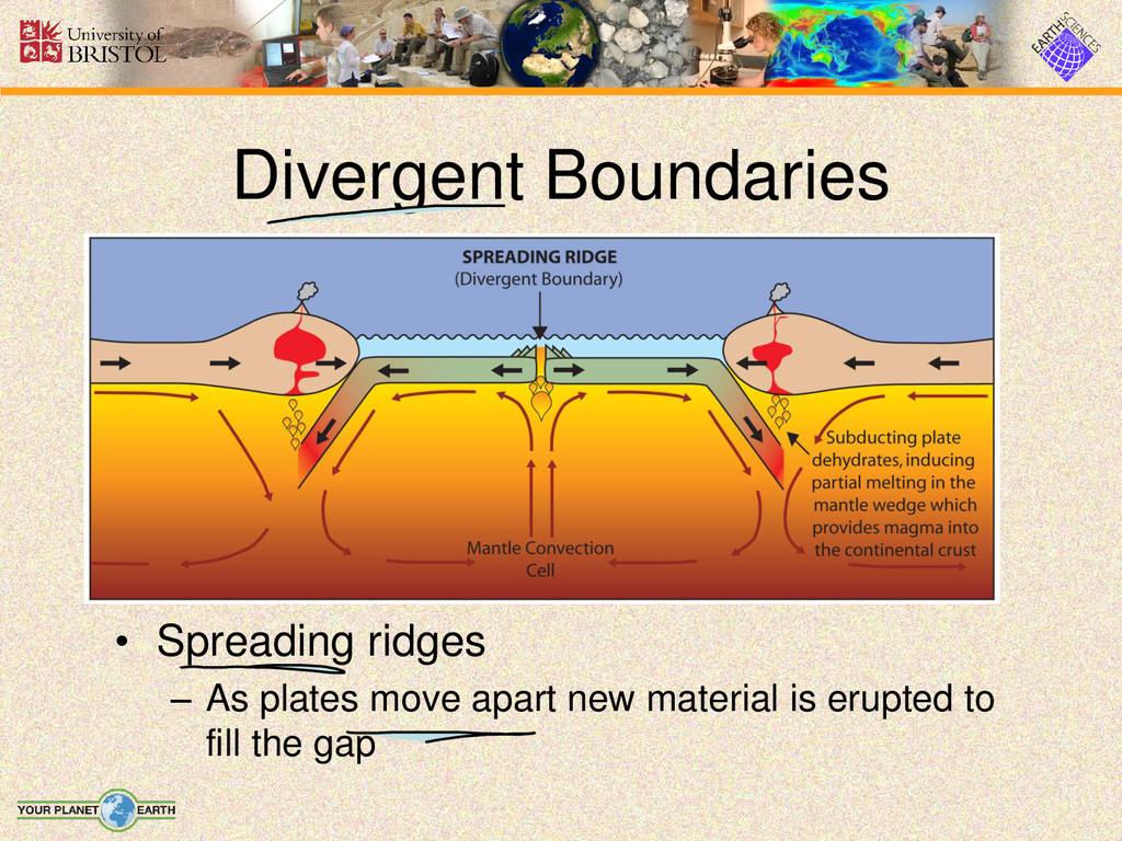 • Spreading ridges – As plates move apart new m...