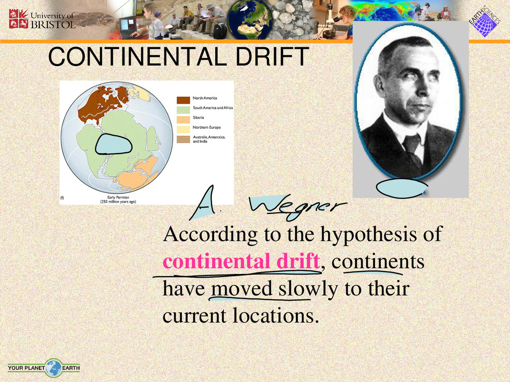 CONTINENTAL DRIFT According to the hypothesis o...