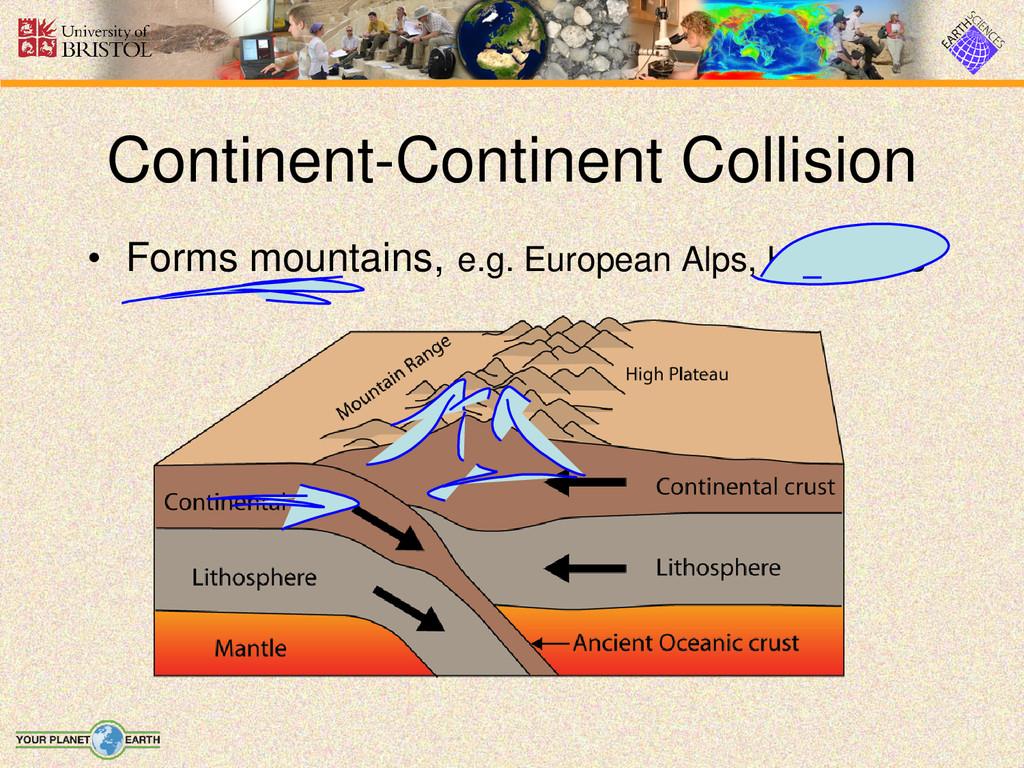 • Forms mountains, e.g. European Alps, Himalaya...