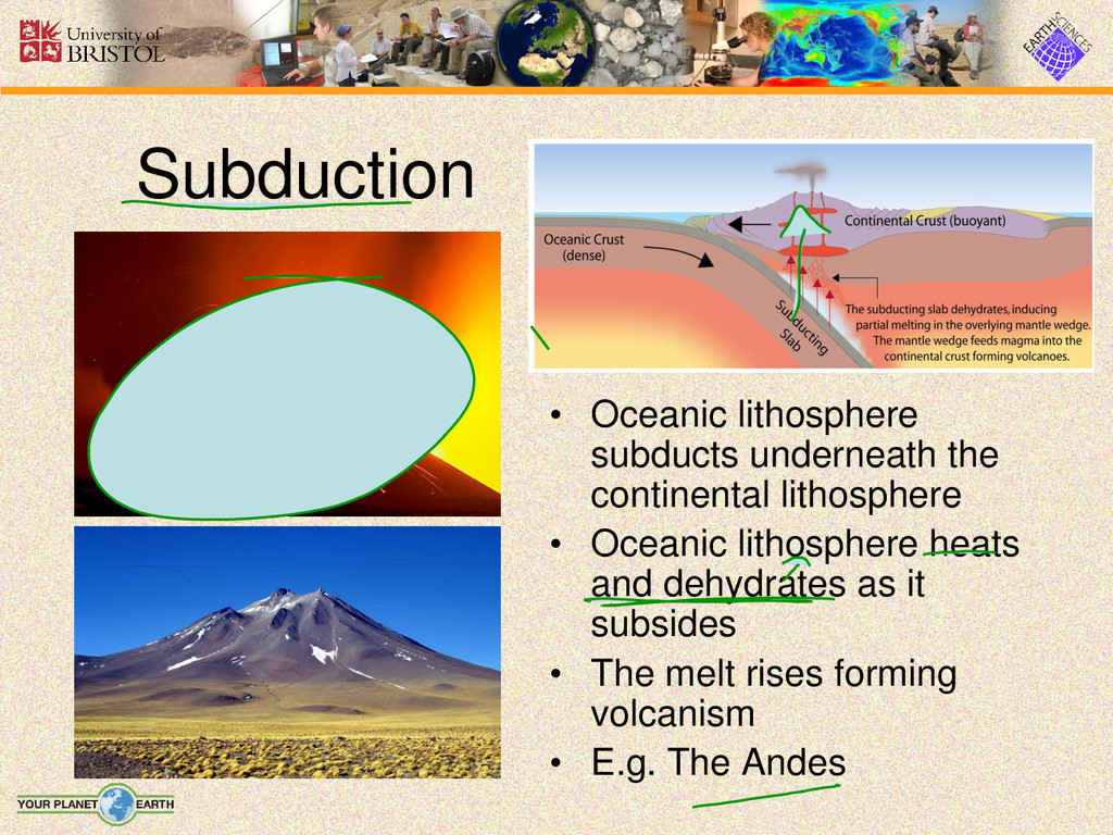• Oceanic lithosphere subducts underneath the c...