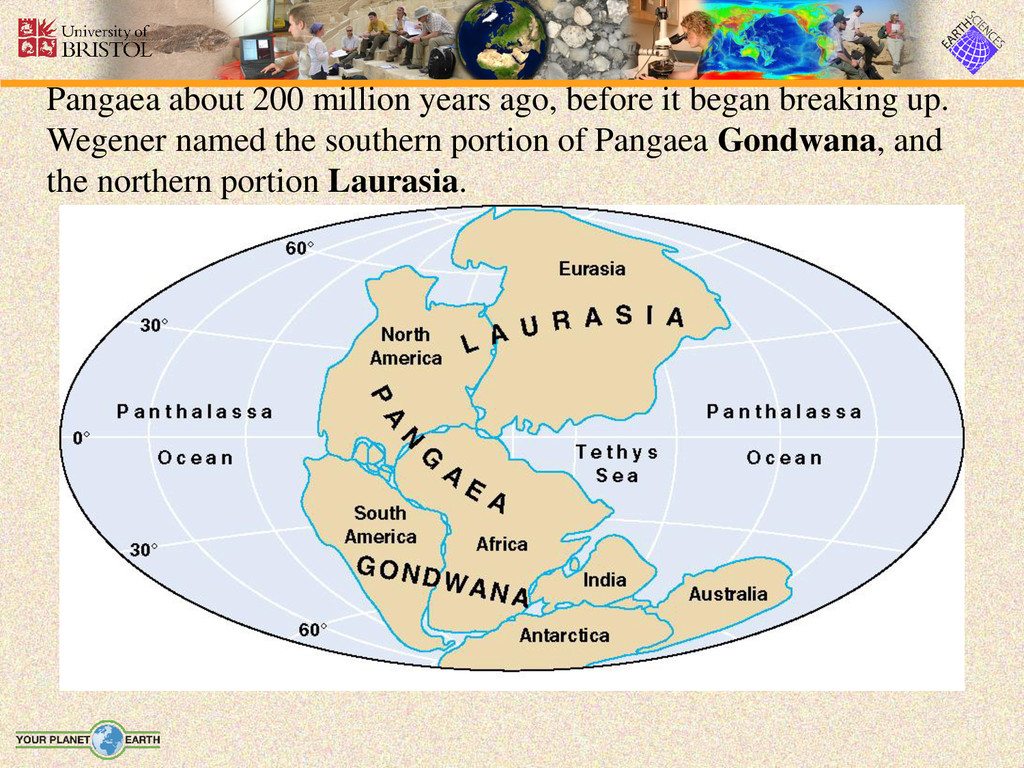 Pangaea about 200 million years ago, before it ...