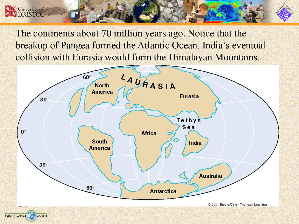 The continents about 70 million years ago. Noti...