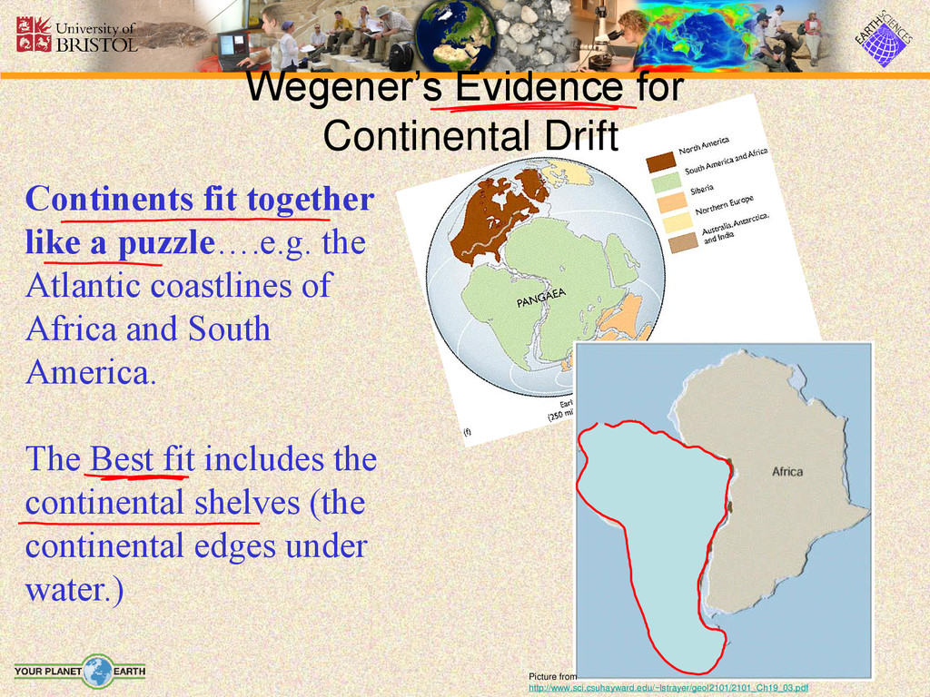 Continents fit together like a puzzle….e.g. the...
