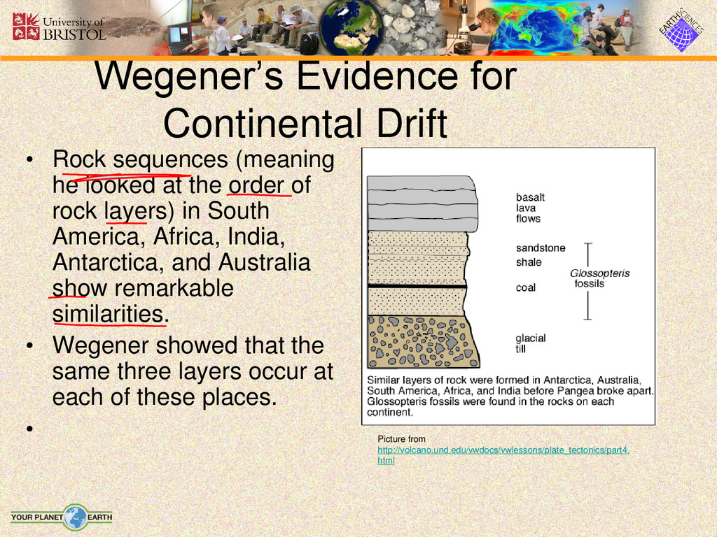 Wegener's Evidence for Continental Drift • Rock...
