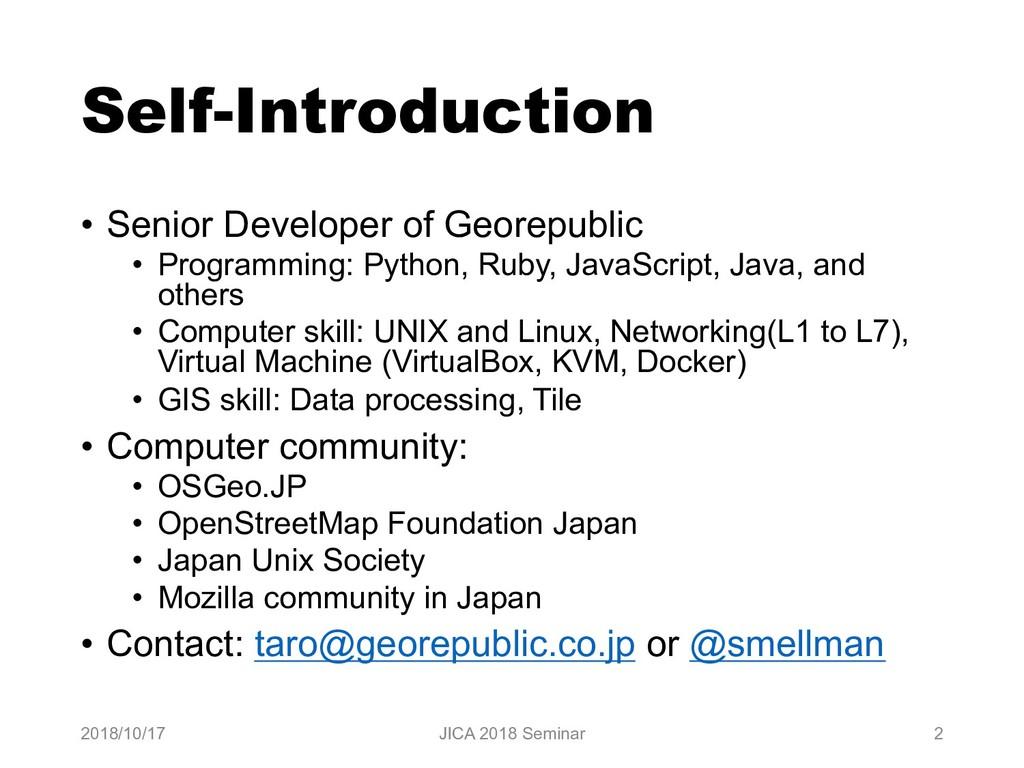 Self-Introduction • Senior Developer of Georepu...