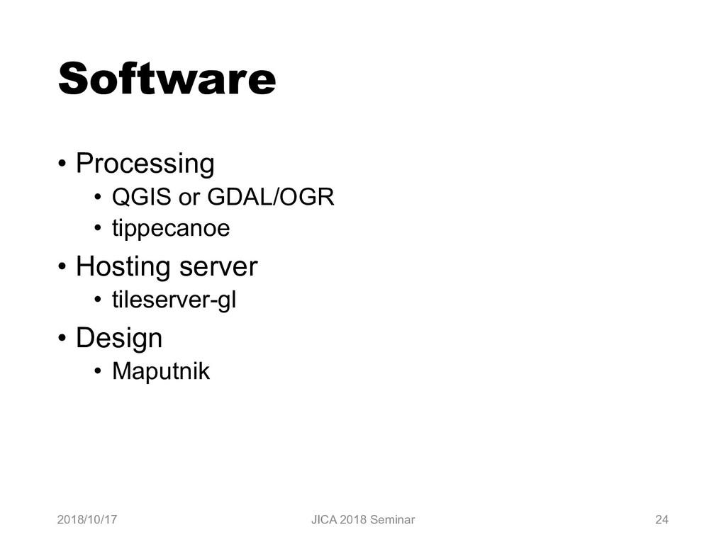 Software • Processing • QGIS or GDAL/OGR • tipp...