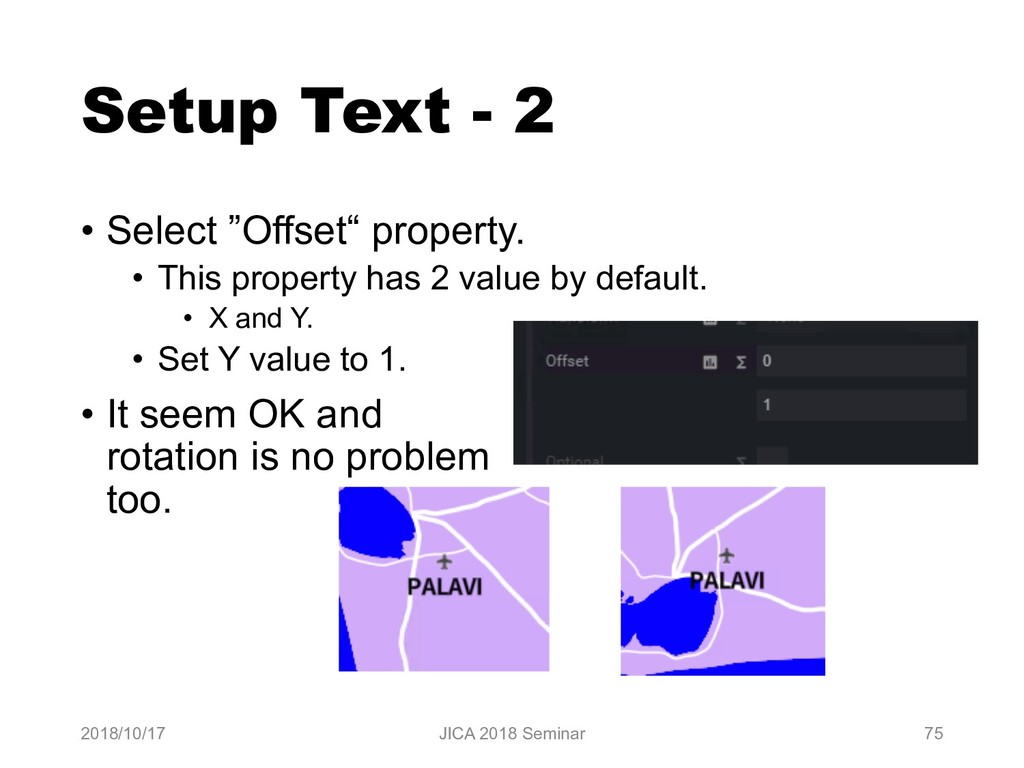 "Setup Text - 2 • Select ""Offset"" property. • Th..."