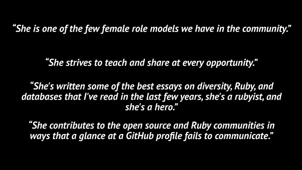 """""""She is one of the few female role models we ha..."""