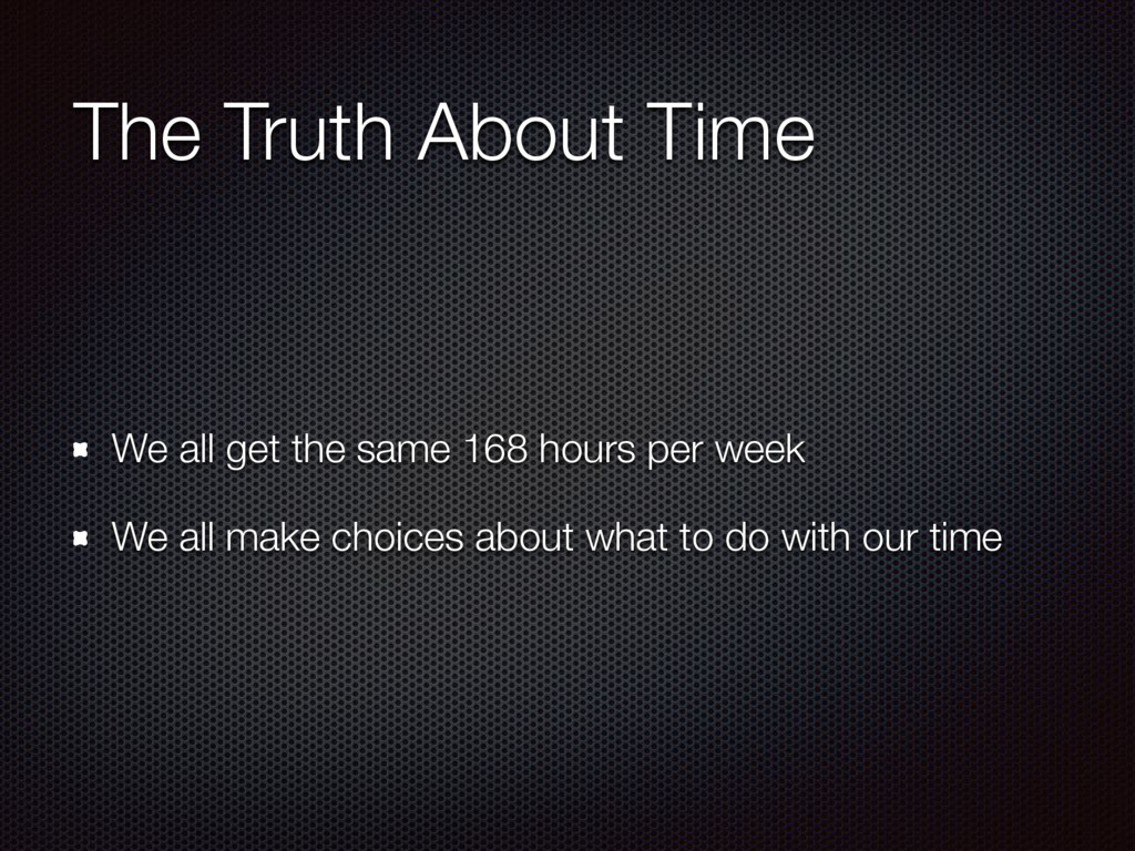 The Truth About Time We all get the same 168 ho...