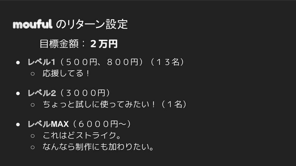 mouful のリターン設定 ● レベル1(500円、800円)(13名) ○ 応援してる! ...
