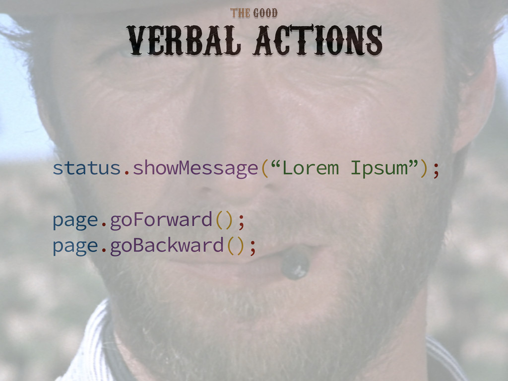 "VERBAL ACTIONS status.showMessage(""Lorem Ipsum""..."