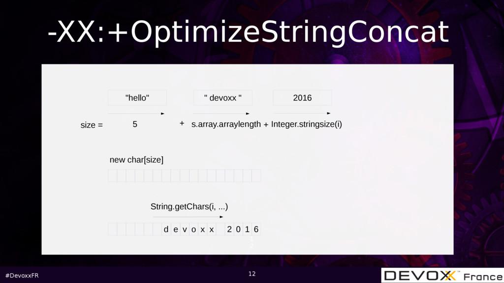 """#DevoxxFR 1 2 -XX:+OptimizeStringConcat """"hello""""..."""