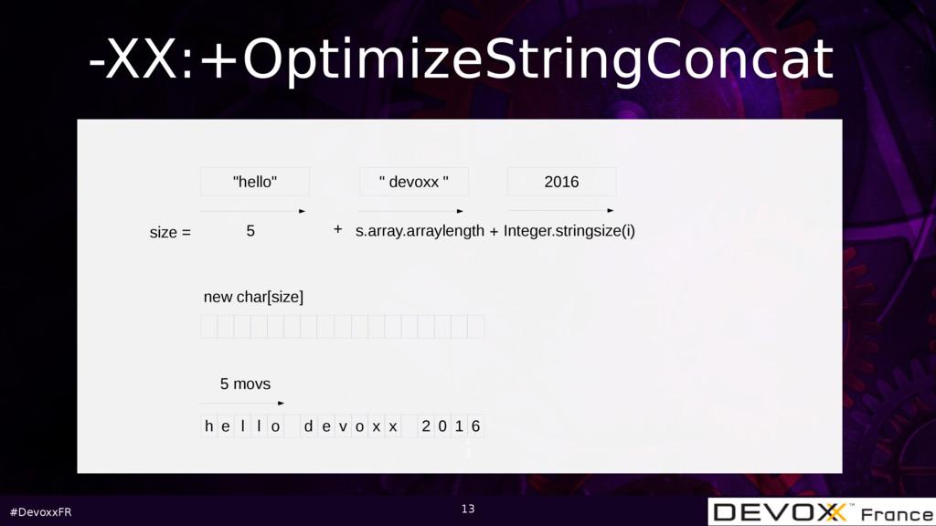 """#DevoxxFR 1 3 -XX:+OptimizeStringConcat """"hello""""..."""