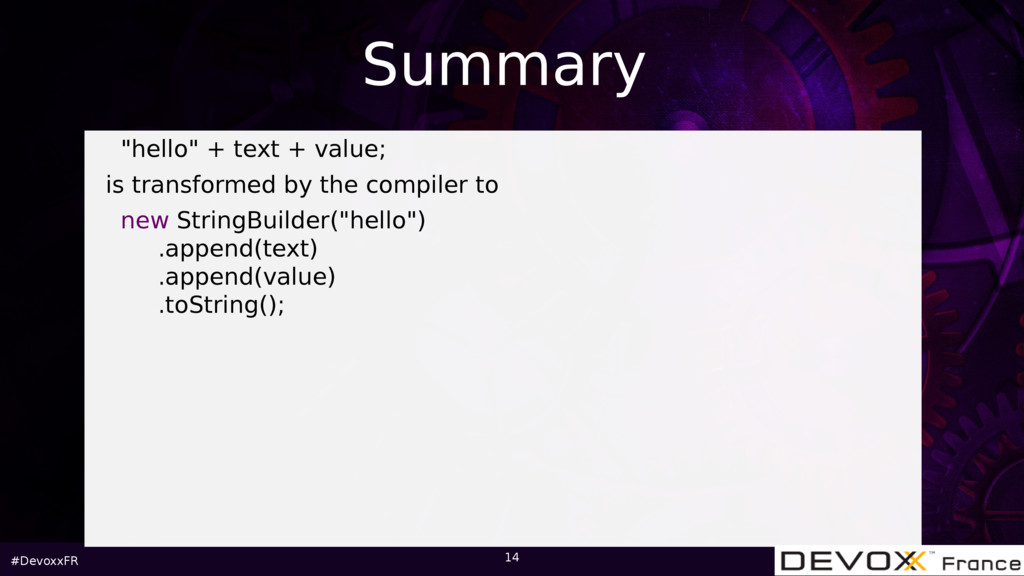 """#DevoxxFR 14 """"hello"""" + text + value; is transfo..."""