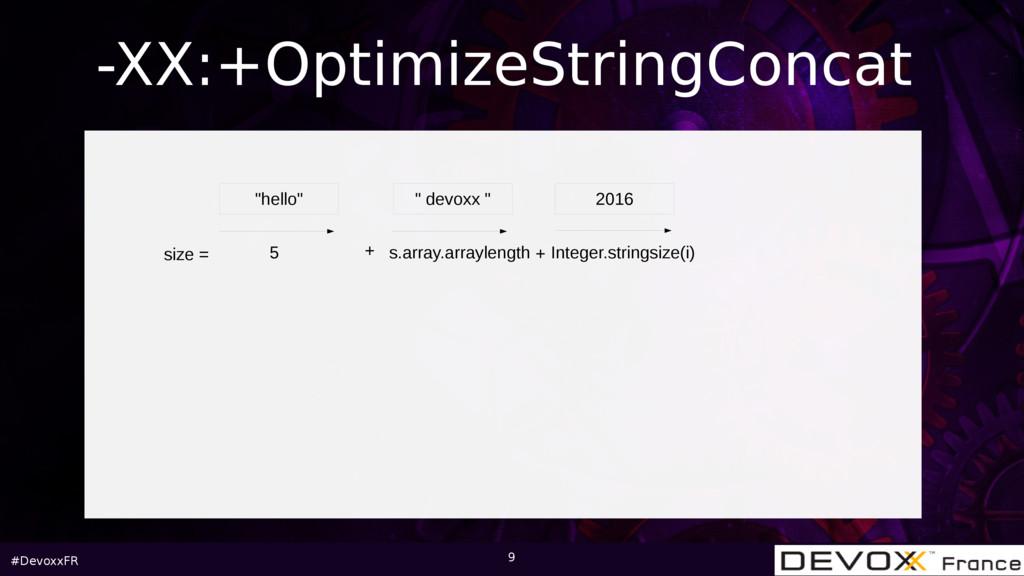"""#DevoxxFR 9 -XX:+OptimizeStringConcat """"hello"""" """"..."""